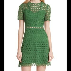 Sandro Green Scalloped Lace Short Sleeve Dress